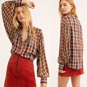 Free People Snow Top Mountains Sequin Plaid Shirt